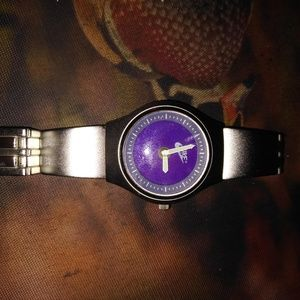 Nike Men Old School 90's Silver and Purple Watch